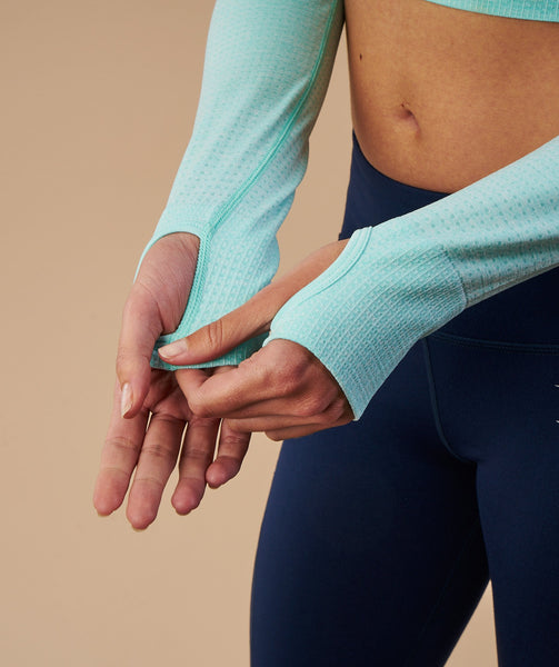 Gymshark Vital Seamless Long Sleeve Crop Top - Pale Turquoise Marl 4