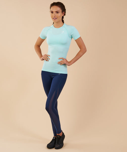 Gymshark Vital Seamless T-Shirt - Pale Turquoise Marl 1