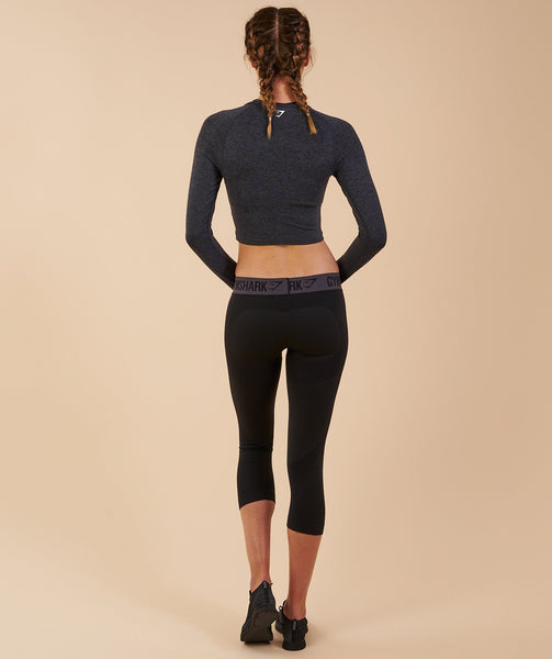 Gymshark Vital Seamless Long Sleeve Crop Top - Black Marl 1