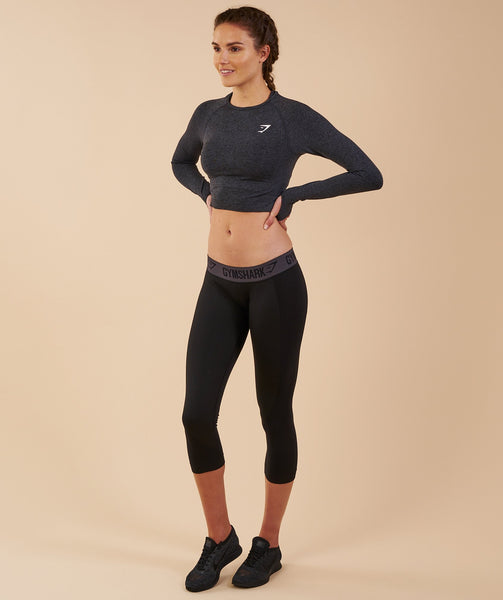 Gymshark Vital Seamless Long Sleeve Crop Top - Black Marl 2