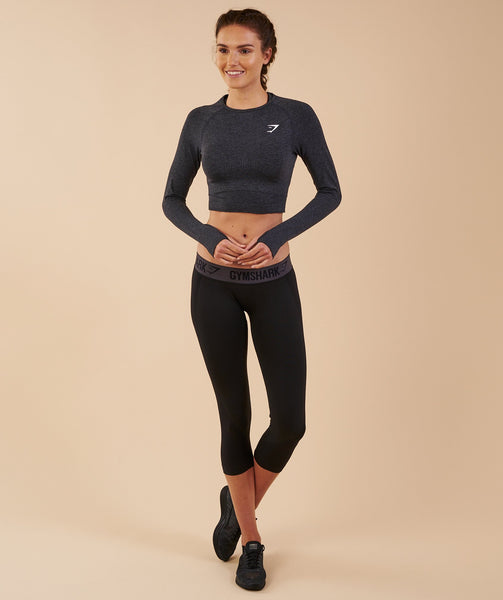 Gymshark Vital Seamless Long Sleeve Crop Top - Black Marl 3