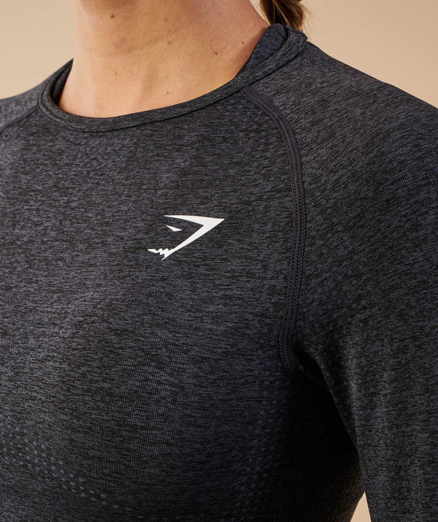 Gymshark Vital Seamless Long Sleeve Crop Top - Black Marl 6