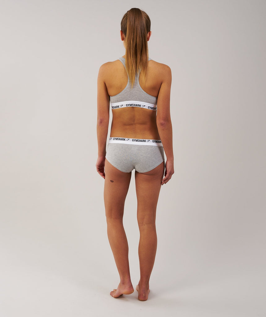 Gymshark Womens Jersey Briefs 2pk - Light Grey Marl 2