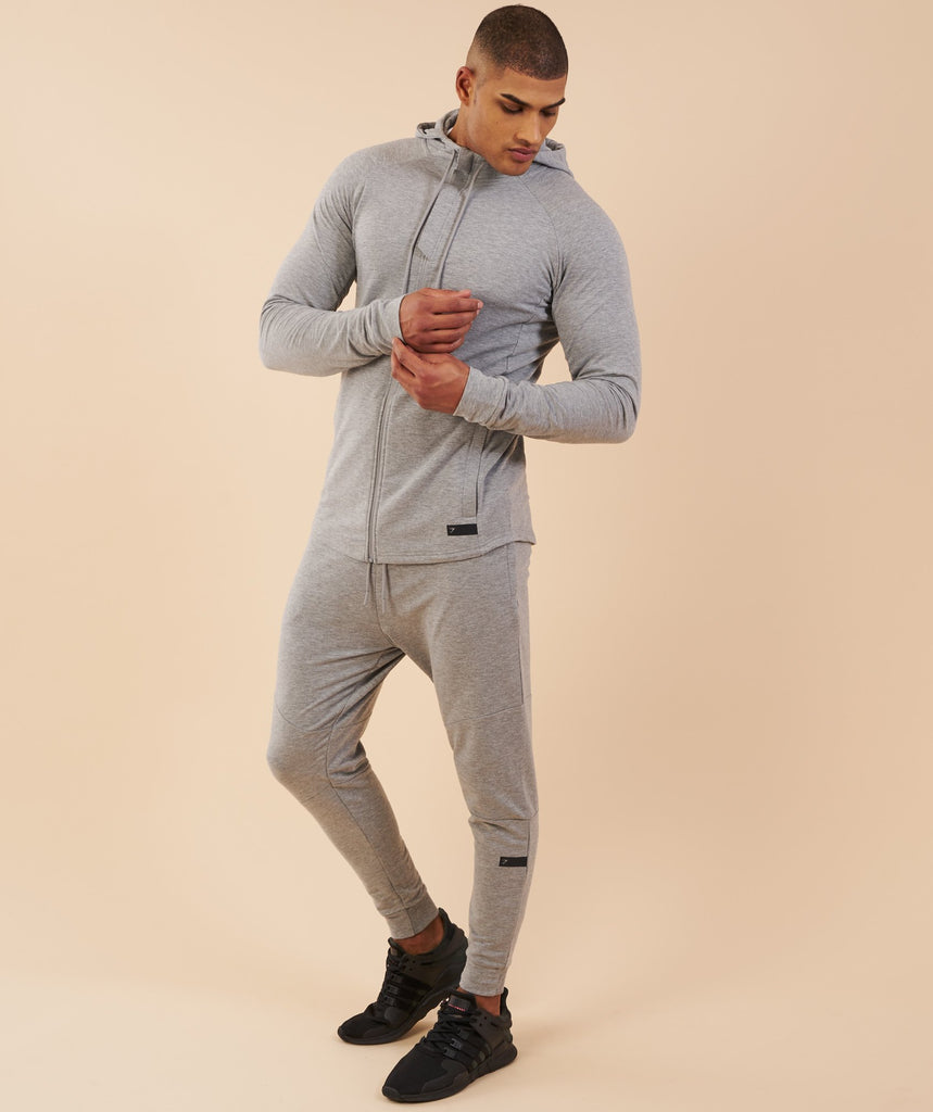 Gymshark Eaze Zip Hoodie - Light Grey 1