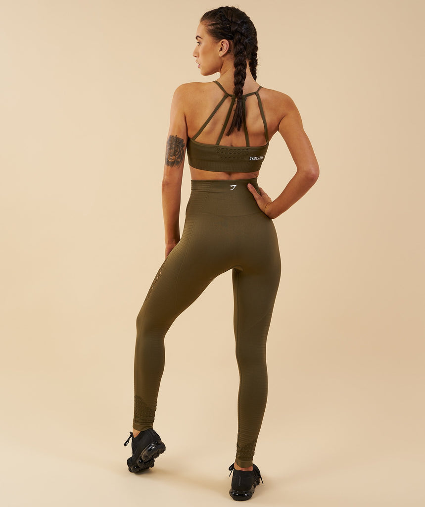 Gymshark Energy Seamless High Waisted Leggings - Khaki 2
