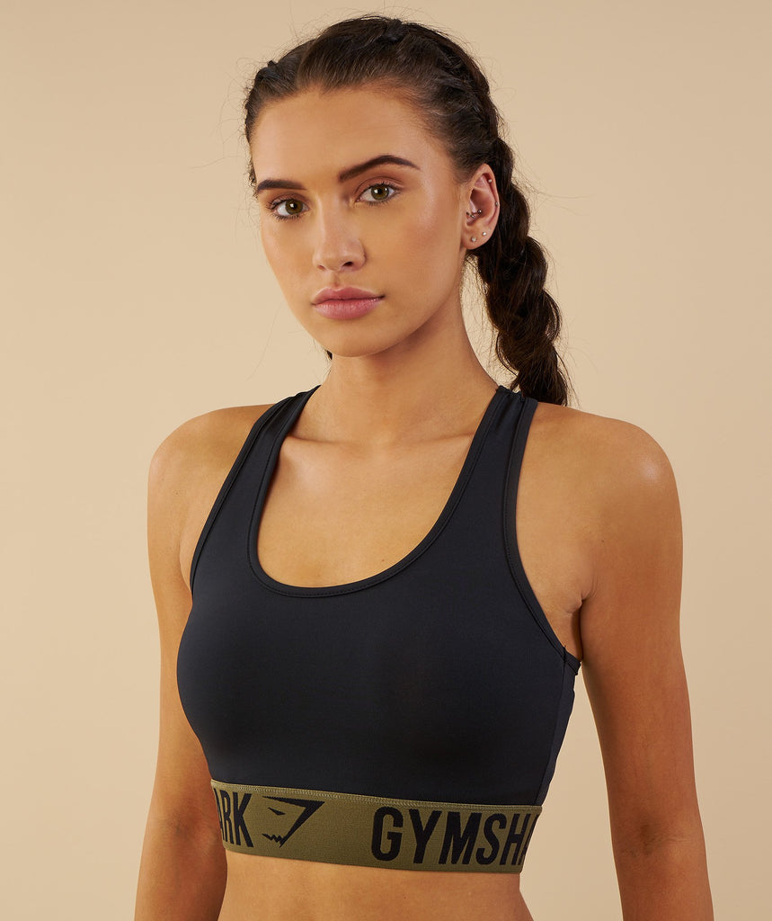 Gymshark Fit Sports Bra - Black/Khaki 2