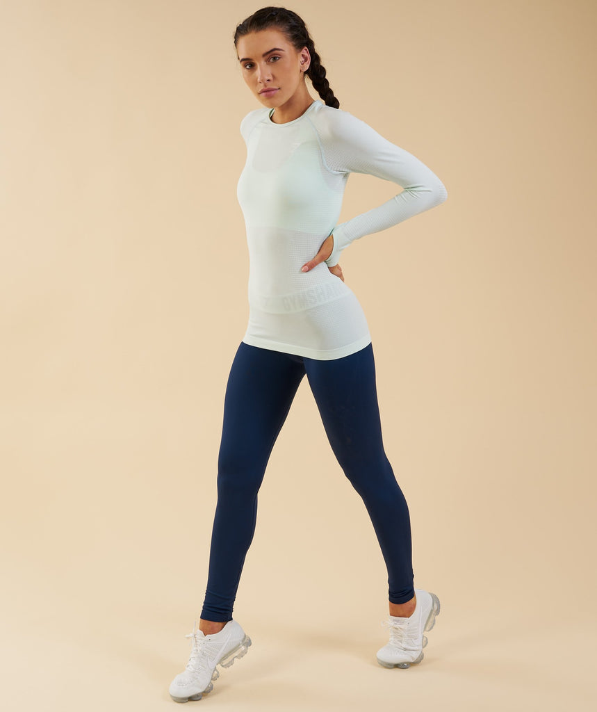 Gymshark Vital Seamless Long Sleeve Top - Sea Foam Green 1