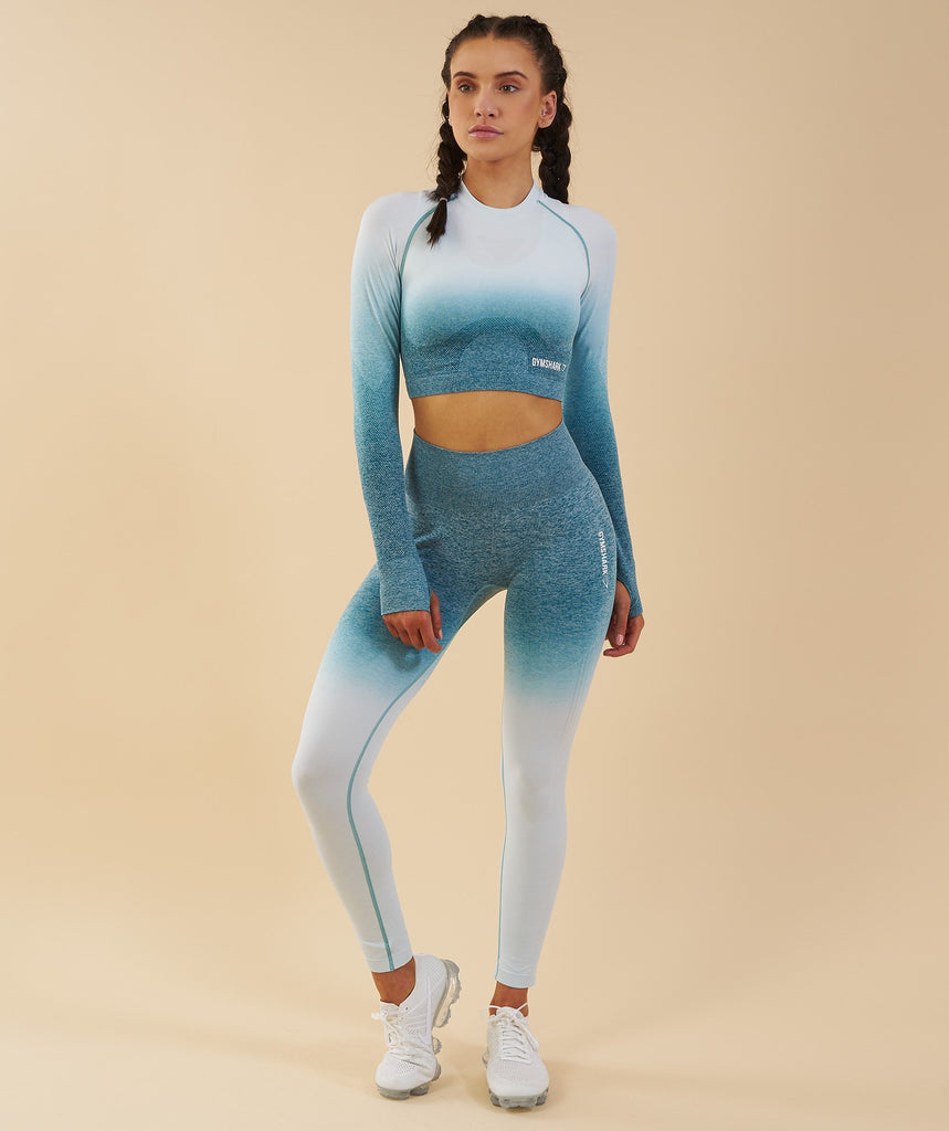 Gymshark Ombre Seamless Crop Top  - Deep Teal/Ice Blue 1