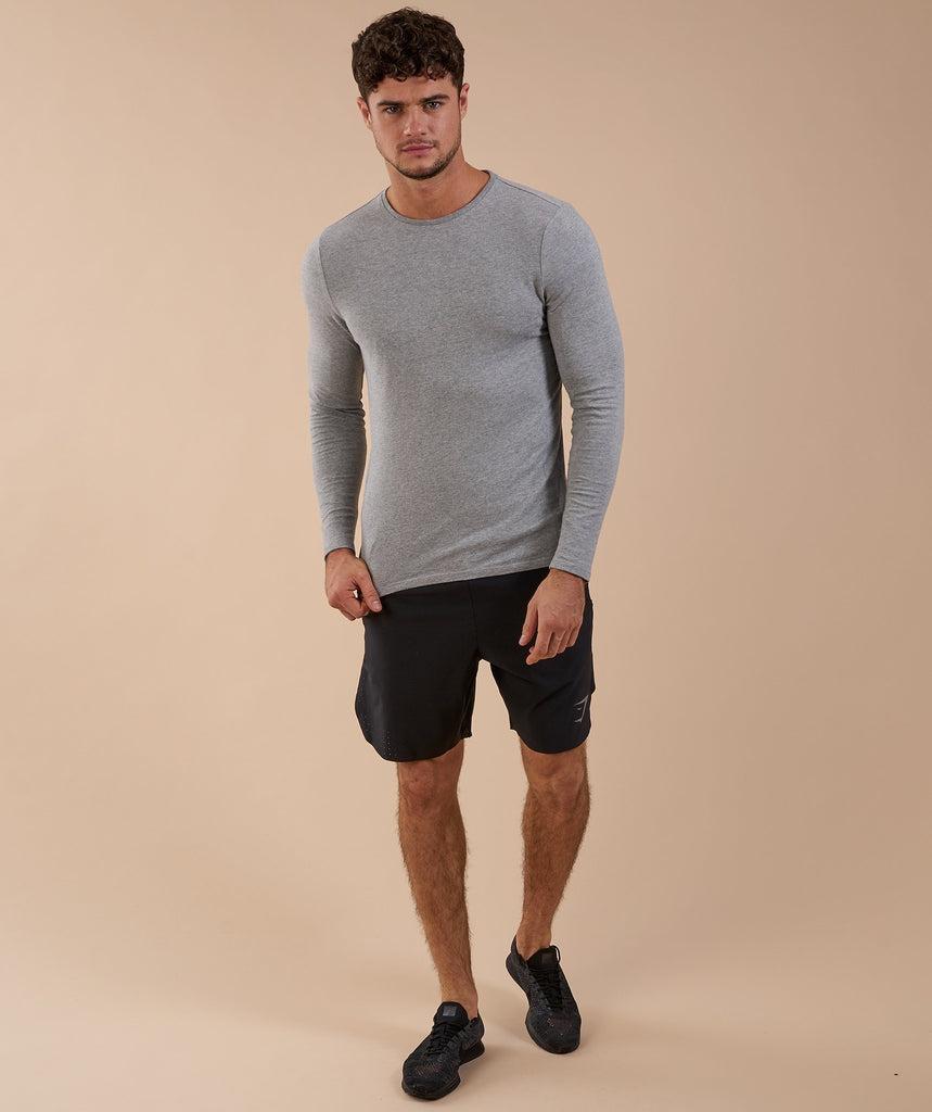 Brushed Cotton Long Sleeve T-Shirt - Light Grey Marl