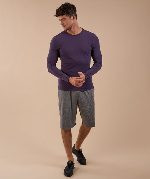 Brushed Cotton Long Sleeve T-Shirt - Nightshade Purple 3