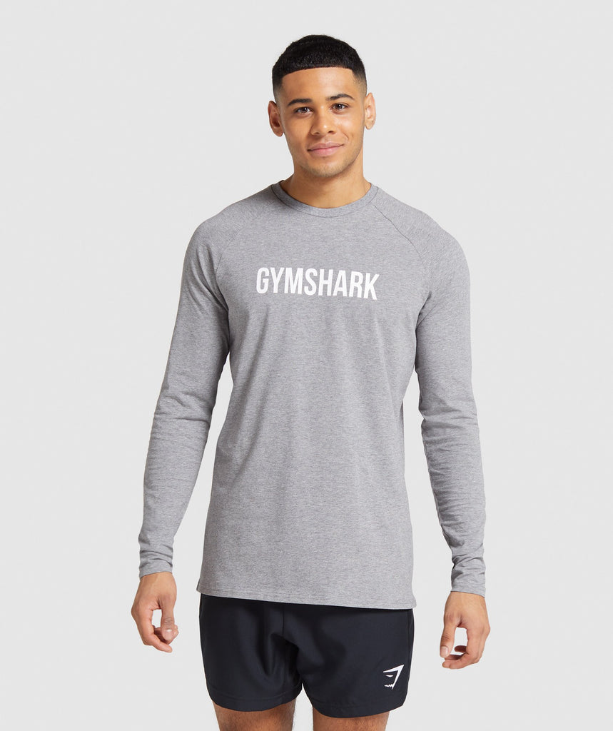 Gymshark Apollo Long Sleeve T-Shirt - Light Grey Marl 1