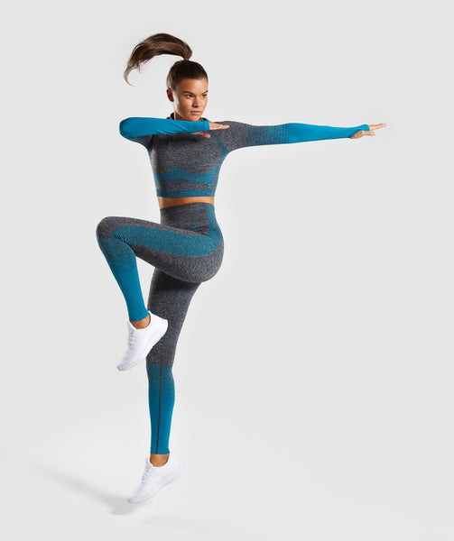 Gymshark Amplify Seamless Leggings - Black Marl/Deep Teal 3
