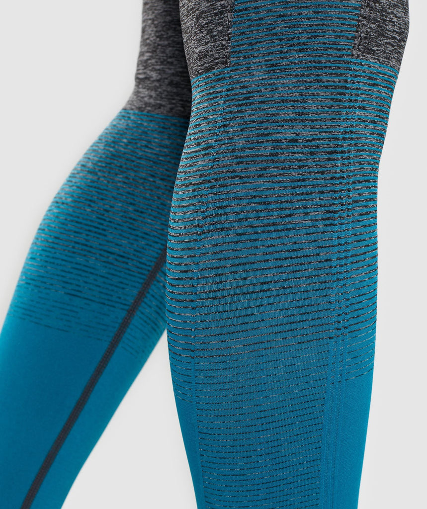 Gymshark Amplify Seamless Leggings - Black Marl/Deep Teal 5
