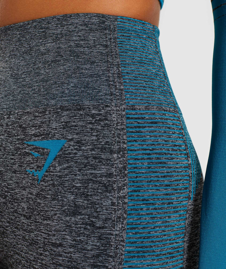 Gymshark Amplify Seamless Leggings - Black Marl/Deep Teal 6