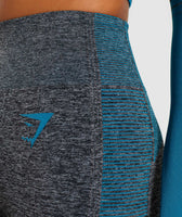 Gymshark Amplify Seamless Leggings - Black Marl/Deep Teal 12