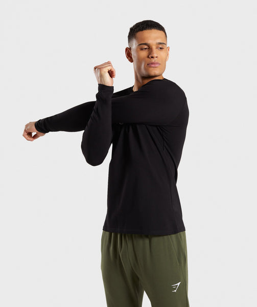 Gymshark Apollo Long Sleeve T-Shirt - Black/White 2