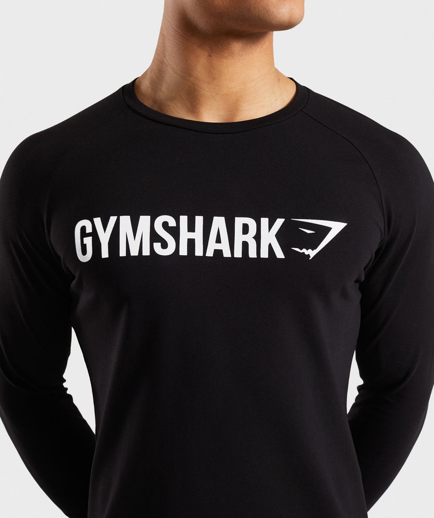 Gymshark Apollo Long Sleeve T-Shirt - Black/White 5
