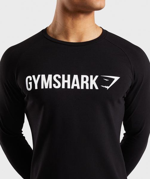 Gymshark Apollo Long Sleeve T-Shirt - Black/White 4
