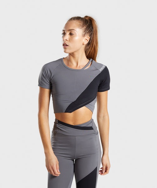 Gymshark Asymmetric Crop Top - Smokey Grey/Black 4
