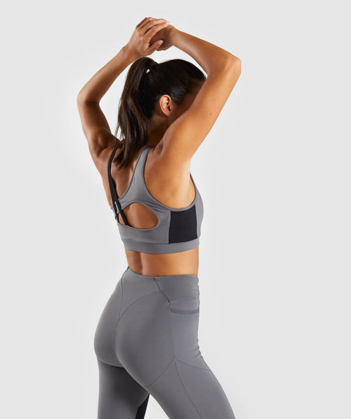 Gymshark Asymmetric Sports Bra - Smokey Grey/Black 1