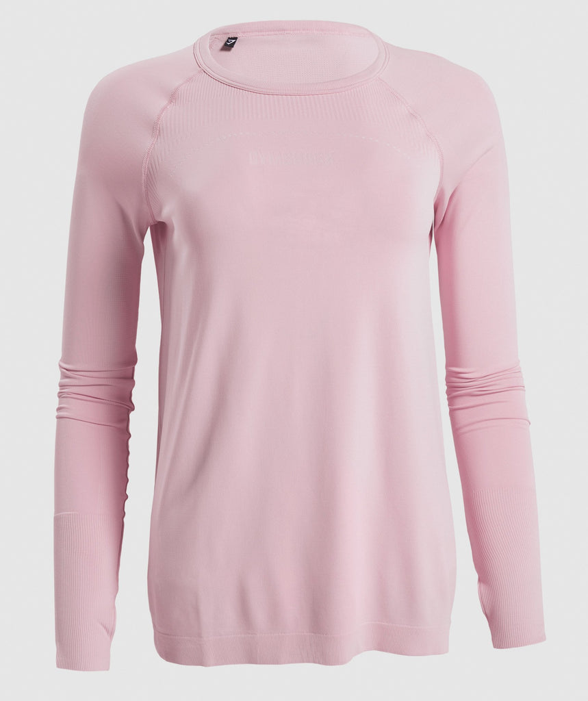 Gymshark Breeze Lightweight Seamless Long Sleeve Top - Pink 1