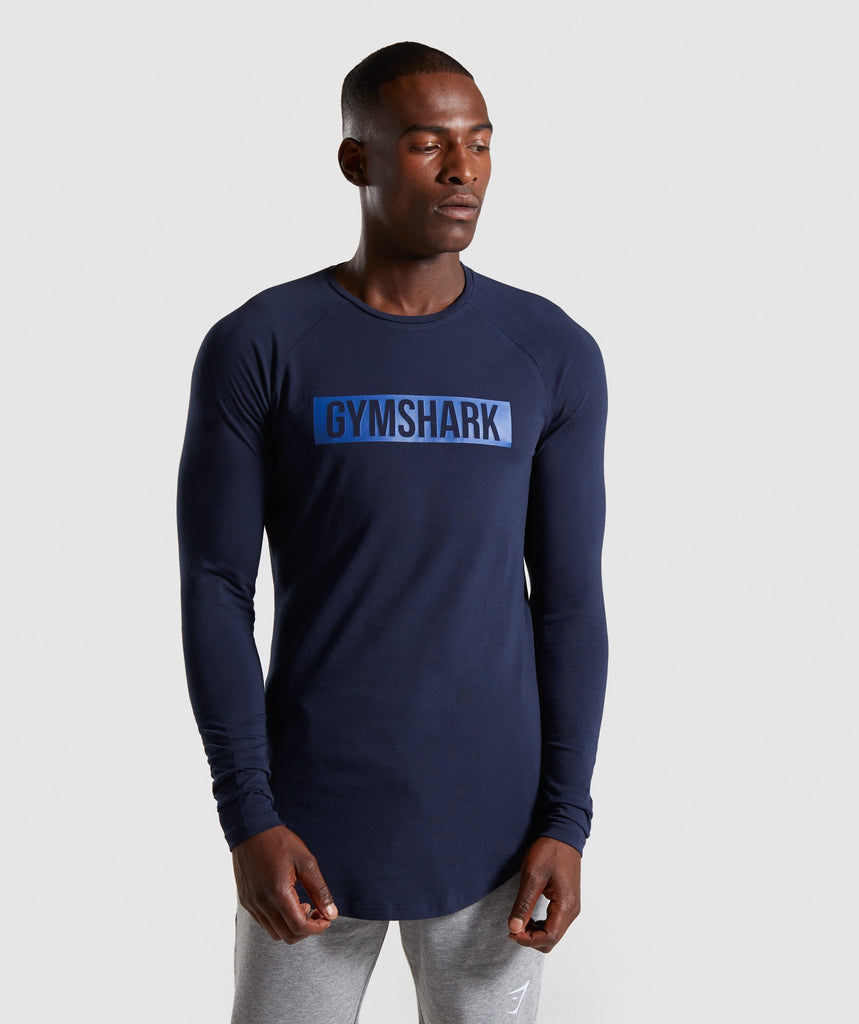 Gymshark Block Long Sleeve T-Shirt - Dark Blue 1