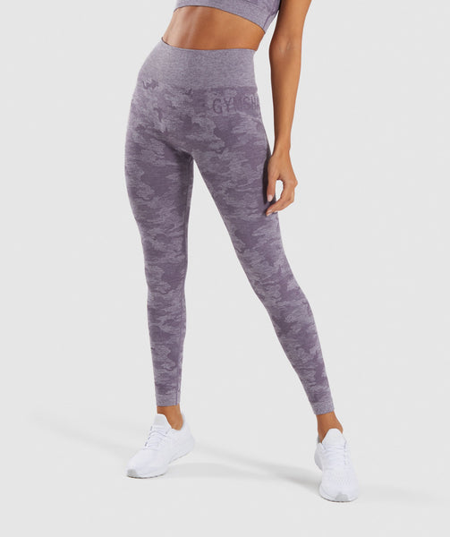 Gymshark Camo Seamless Leggings - Lavender Grey 4