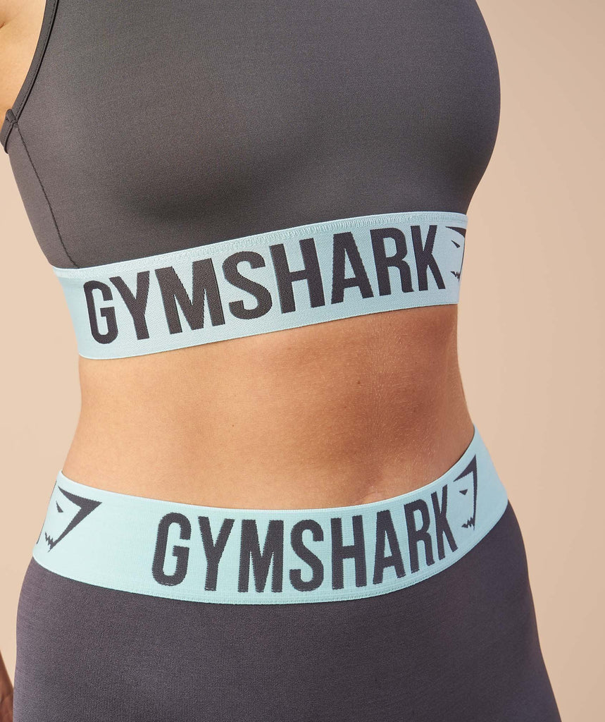Gymshark Fit Cropped Leggings - Charcoal/Pale Turquoise 6