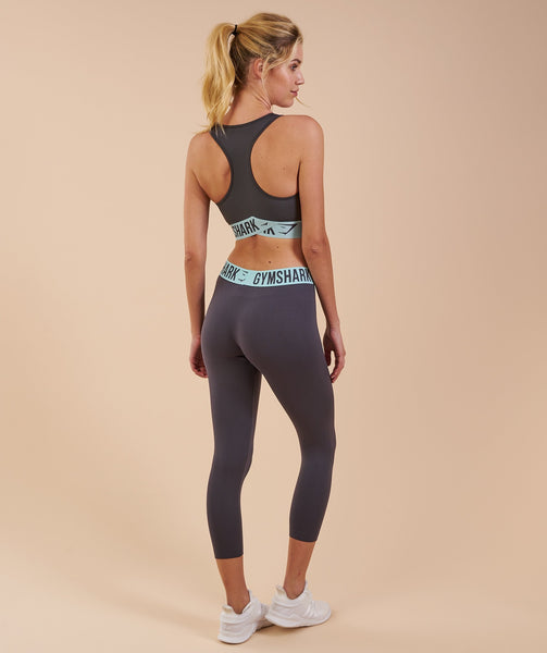 Gymshark Fit Cropped Leggings - Charcoal/Pale Turquoise 4