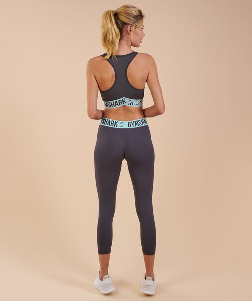 Gymshark Fit Cropped Leggings - Charcoal/Pale Turquoise 1