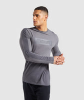 Gymshark Colour Block Central Logo Long Sleeve T-Shirt - Charcoal 7