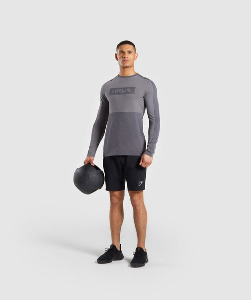 Gymshark Colour Block Central Logo Long Sleeve T-Shirt - Charcoal 2