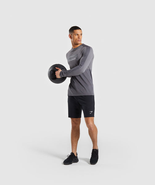 Gymshark Colour Block Central Logo Long Sleeve T-Shirt - Charcoal 3