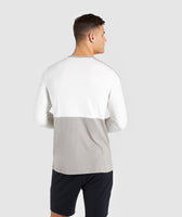 Gymshark Colour Block Central Logo Long Sleeve T-Shirt - Chalk White 8