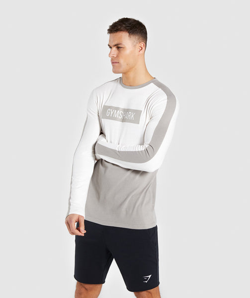 Gymshark Colour Block Central Logo Long Sleeve T-Shirt - Chalk White 2