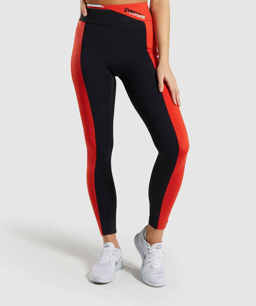 Gymshark Colour Block Leggings - Black/Red/White 1