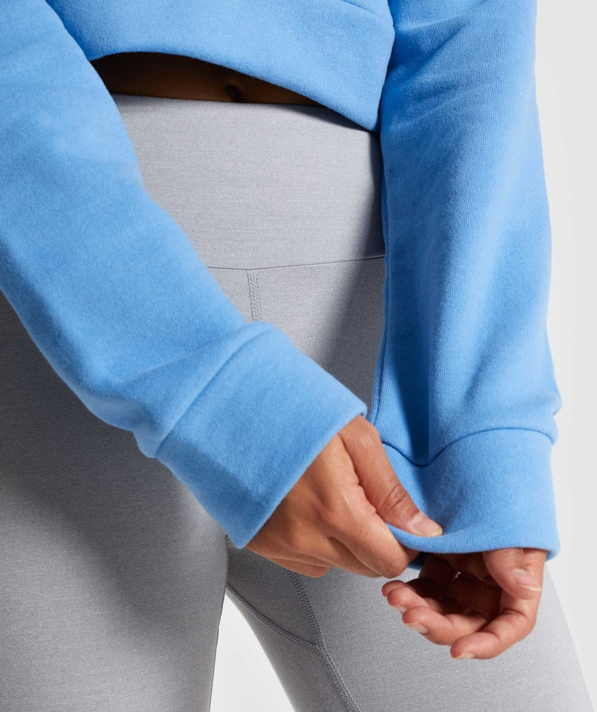 Gymshark Cropped Crest Hoodie - Blue 6