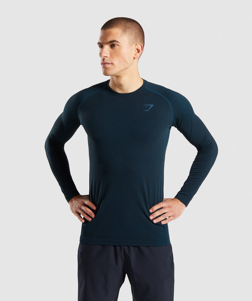 Gymshark Define Seamless Long Sleeve T-Shirt - Blue 1
