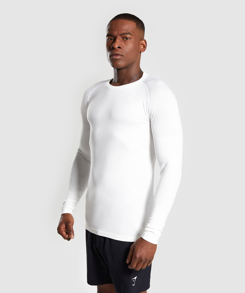 Gymshark Define Seamless Long Sleeve T-Shirt - White 1