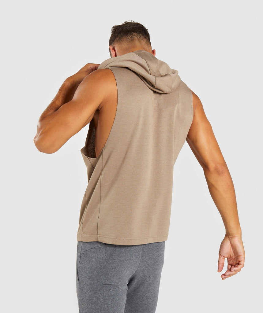 Gymshark Drop Arm Sleeveless Hoodie - Driftwood Brown 2