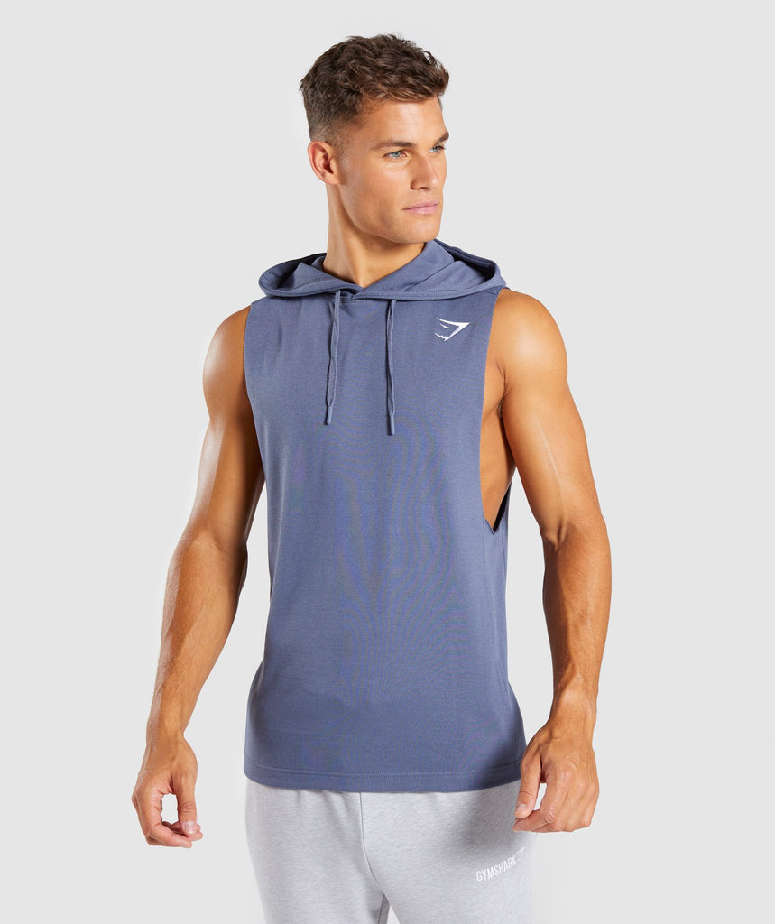 Gymshark Drop Arm Sleeveless Hoodie - Aegean Blue 1