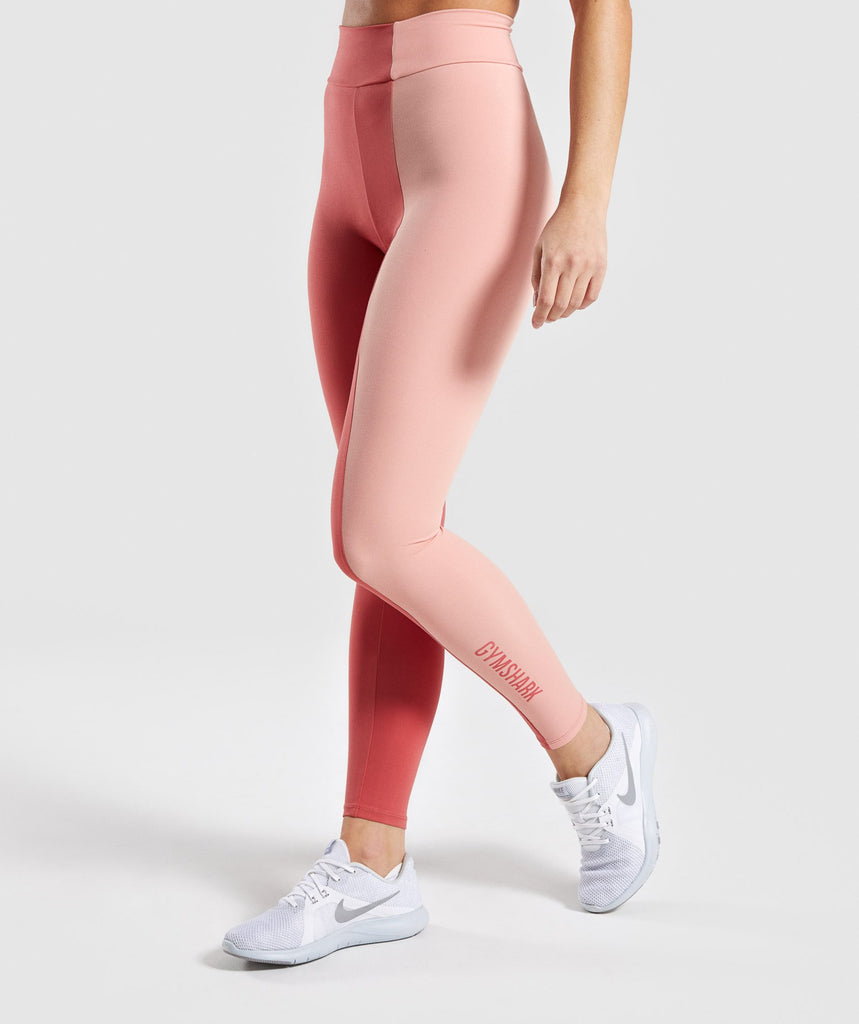 Gymshark Duo Leggings - Brick Red/Peach 1