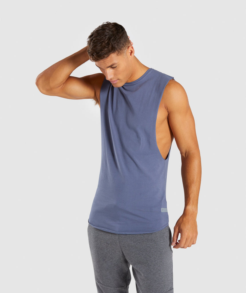 Gymshark Eaze Drop Arm Sleeveless T-Shirt - Aegean Blue 1