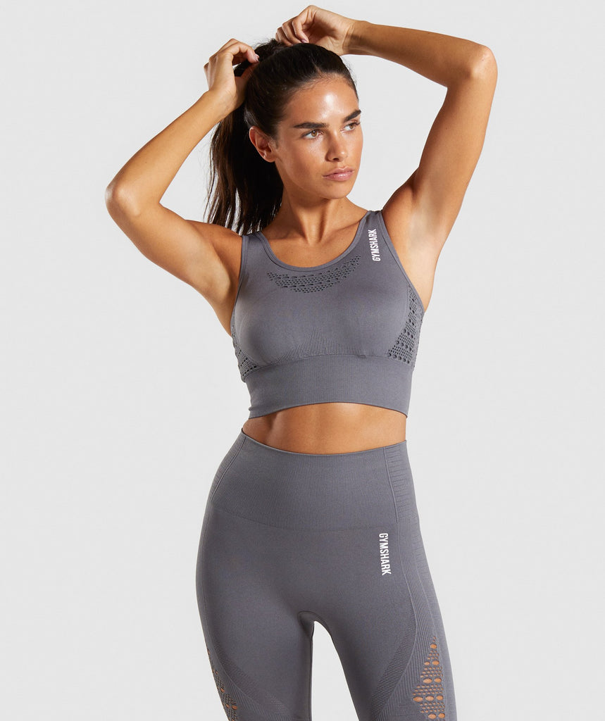 Gymshark Energy+ Seamless Crop Top - Smokey Grey 1