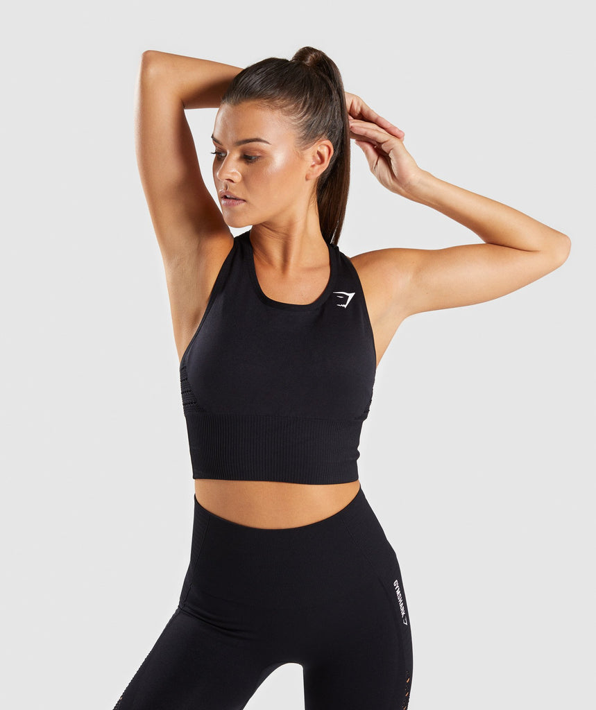 Gymshark Energy Seamless Crop Vest - Black 1