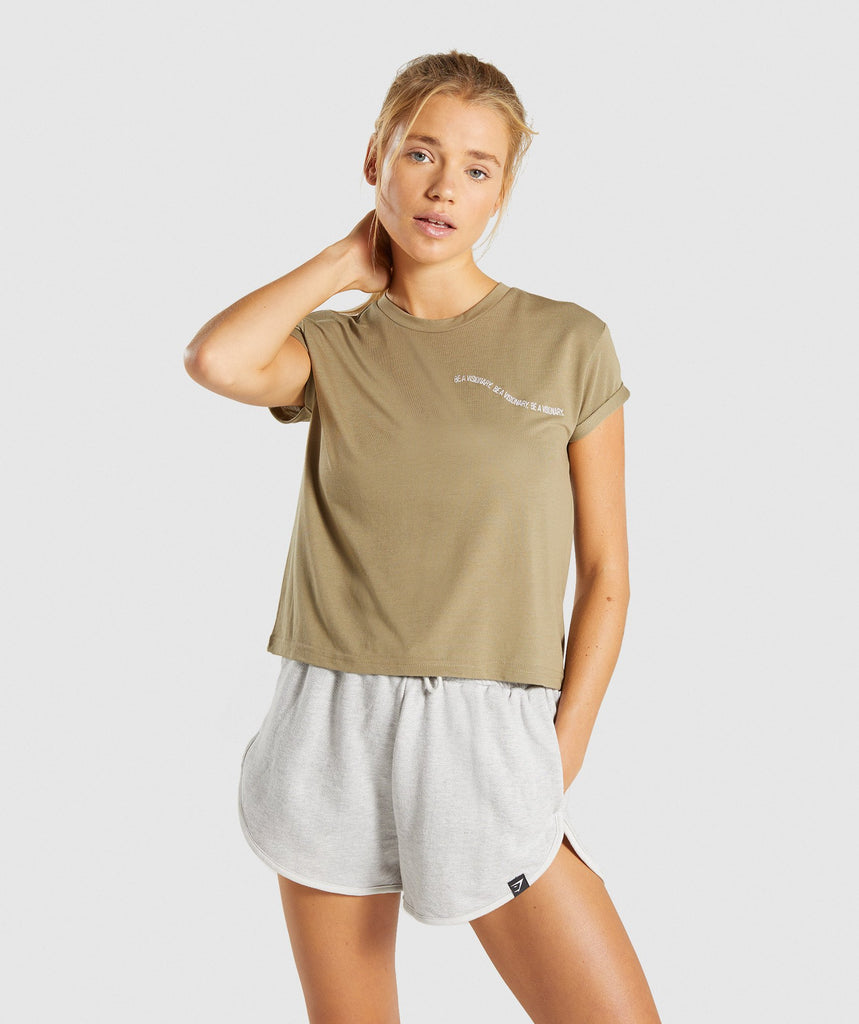 Gymshark Essential Be A Visionary Tee - Washed Khaki/White 1