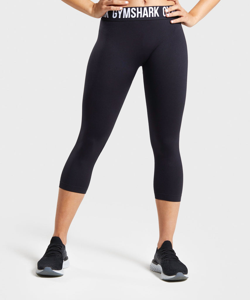 Gymshark Fit Cropped Leggings - Black/White 1