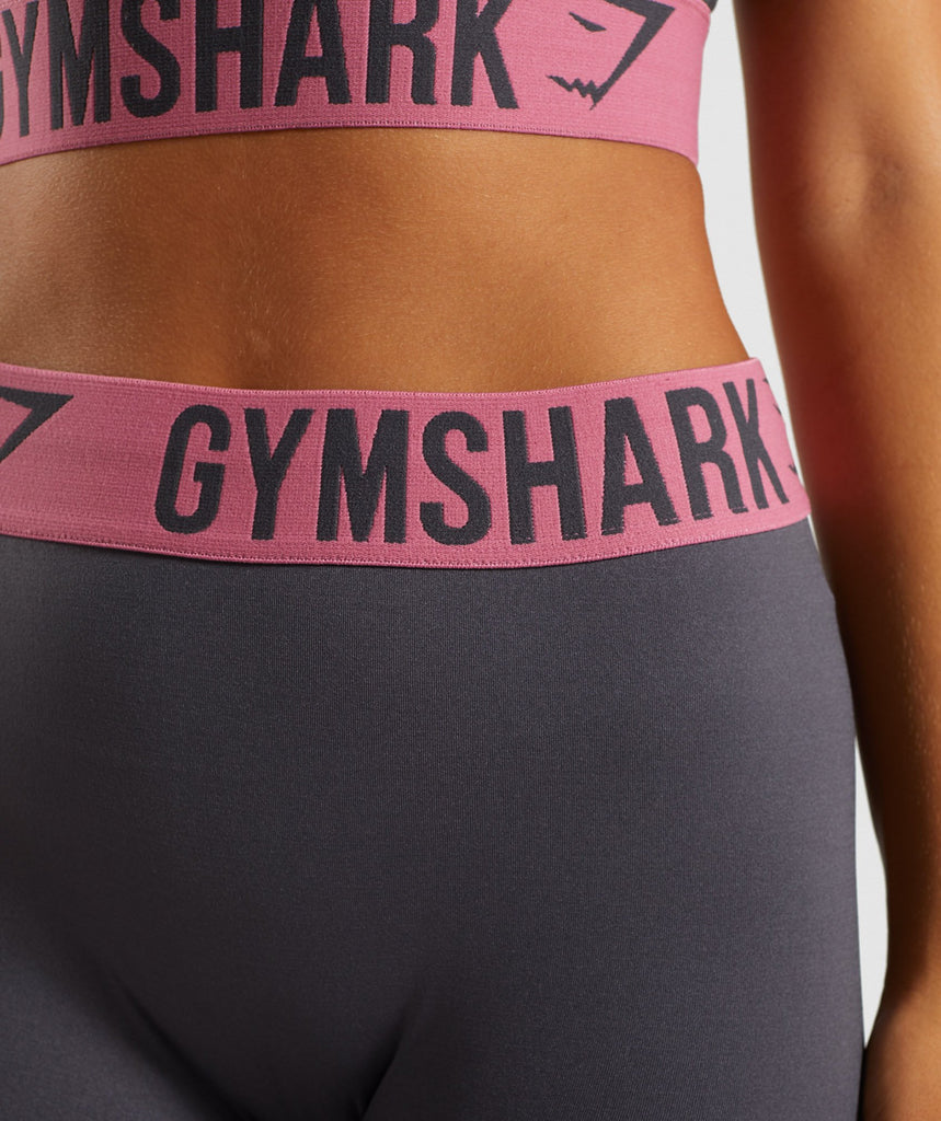 Gymshark Fit Cropped Leggings - Charcoal/Dusky Pink 5
