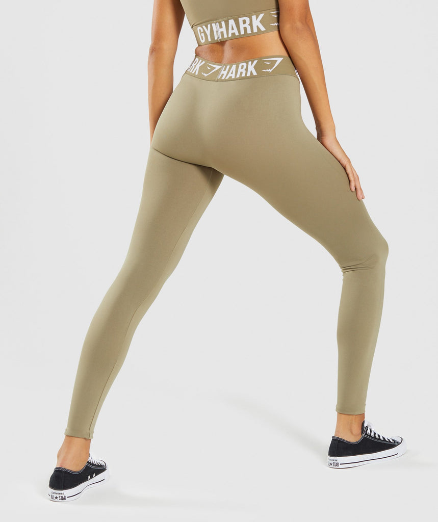 Gymshark Fit Leggings - Washed Khaki/White 2