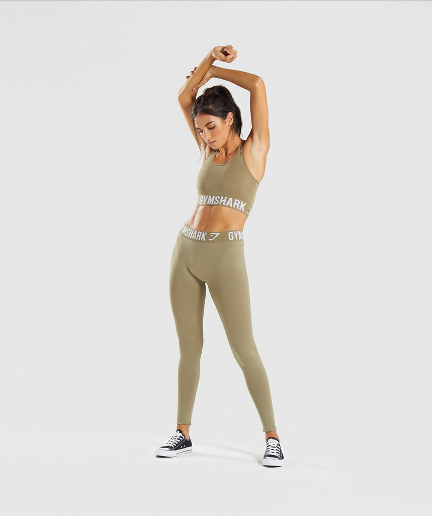 Gymshark Fit Leggings - Washed Khaki/White 6
